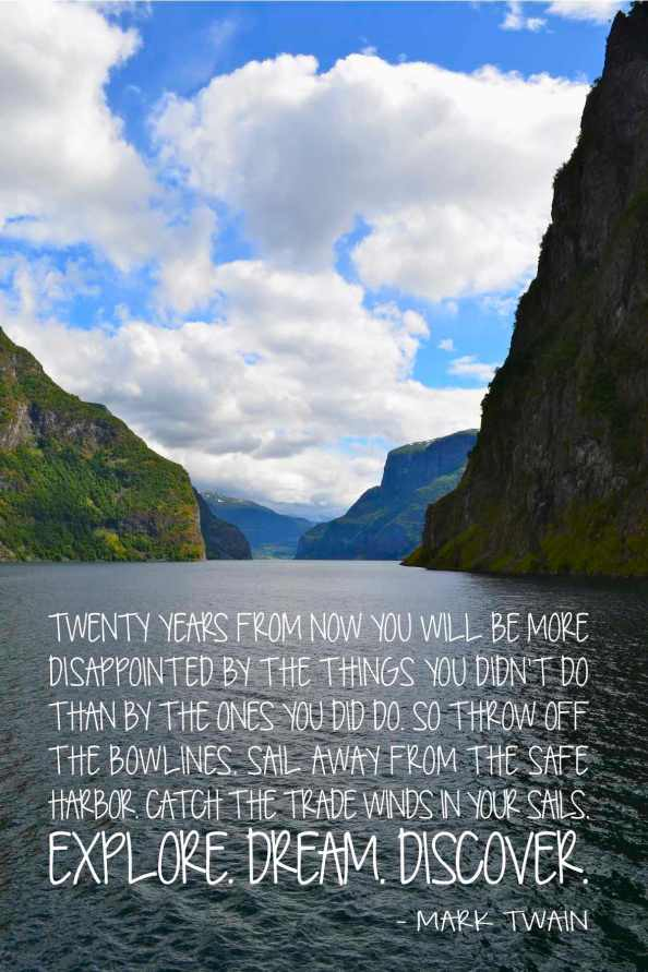 Norway fjord travel. Quote by Mark Twain via One Charming Life