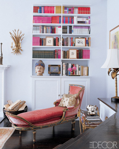 Cynthia Rowley's Manhattan Apartment - pink books via Elle Decor