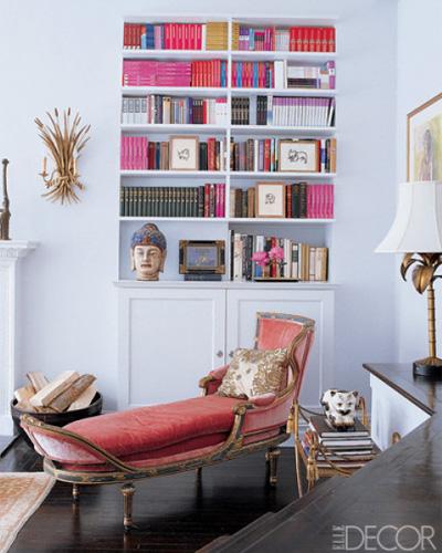 Cynthia Rowley's Manhattan Apartment - pink books via Elle Decor