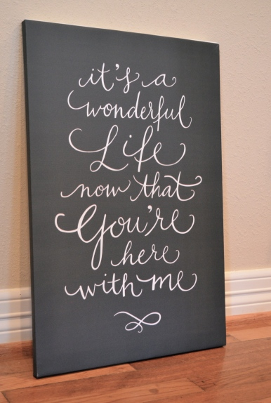 Calligraphy quote on canvas via One Charming Life