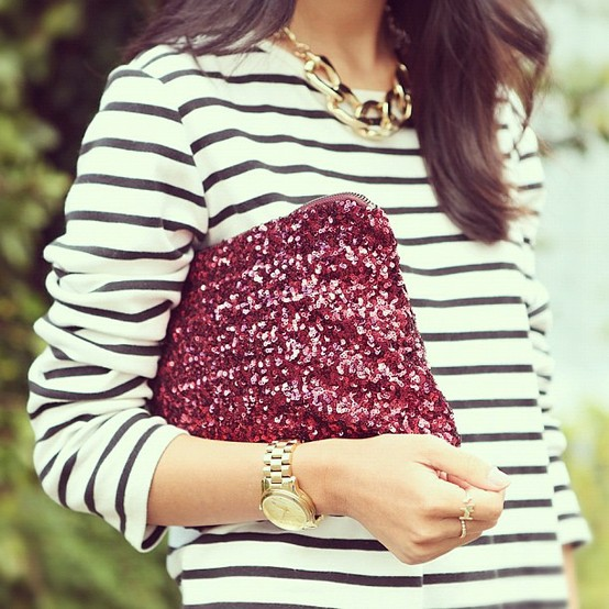 maroon sequined clutch