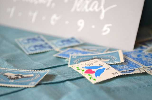blue and teal vintage stamps. custom invitation design. couples shower. stock the bar.