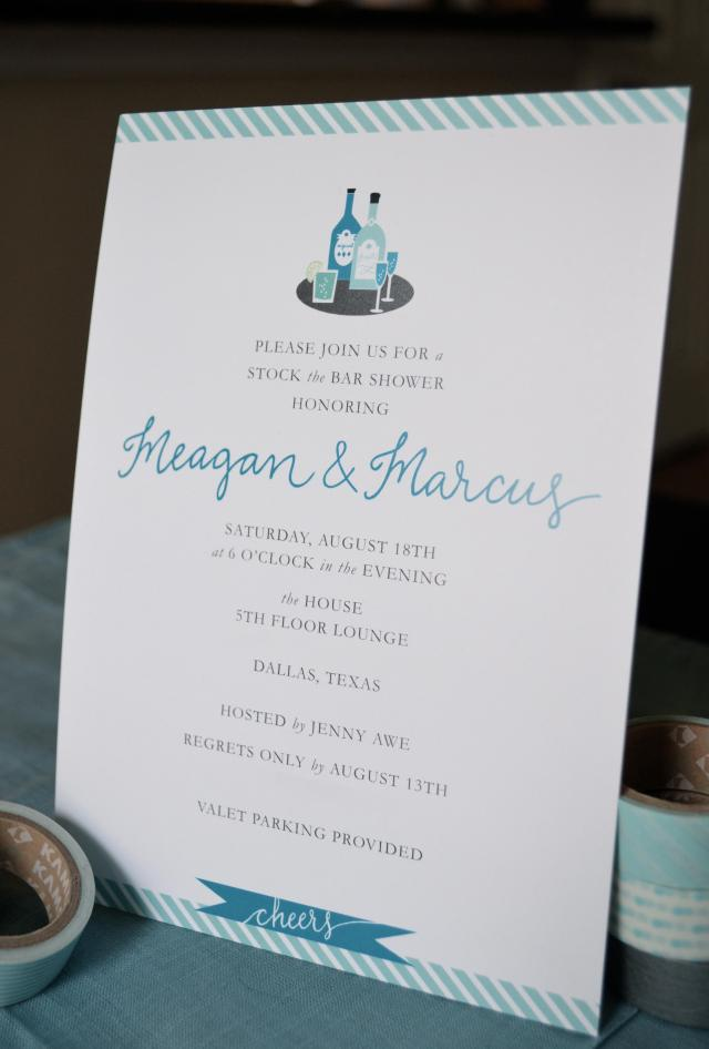 modern teal stock the bar couples shower invitation. one charming life. mariel.
