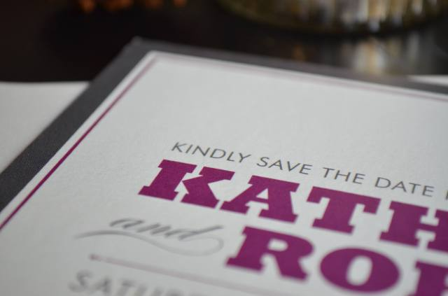 kathryn and robert's save the date envelopes. one charming life.