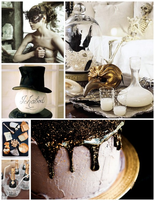 black and gold halloween party inspiration from one charming life