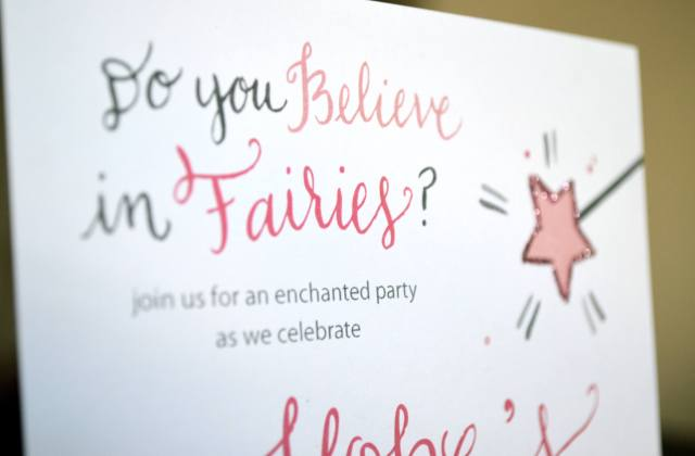 Do you believe in Fairies? Party Invite with Calligraphy from One Charming Life