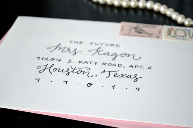 Save the Date Envelope Lettering - Black and Light Pink - One Charming Life