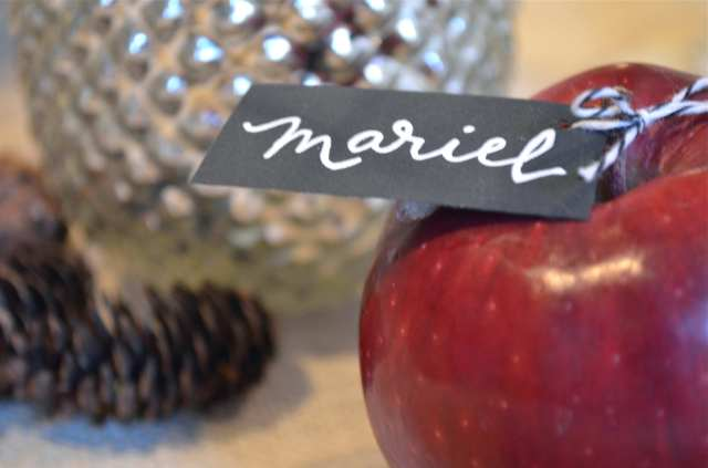 Fall Dinner Party Red Apple Place Card from One Charming Life