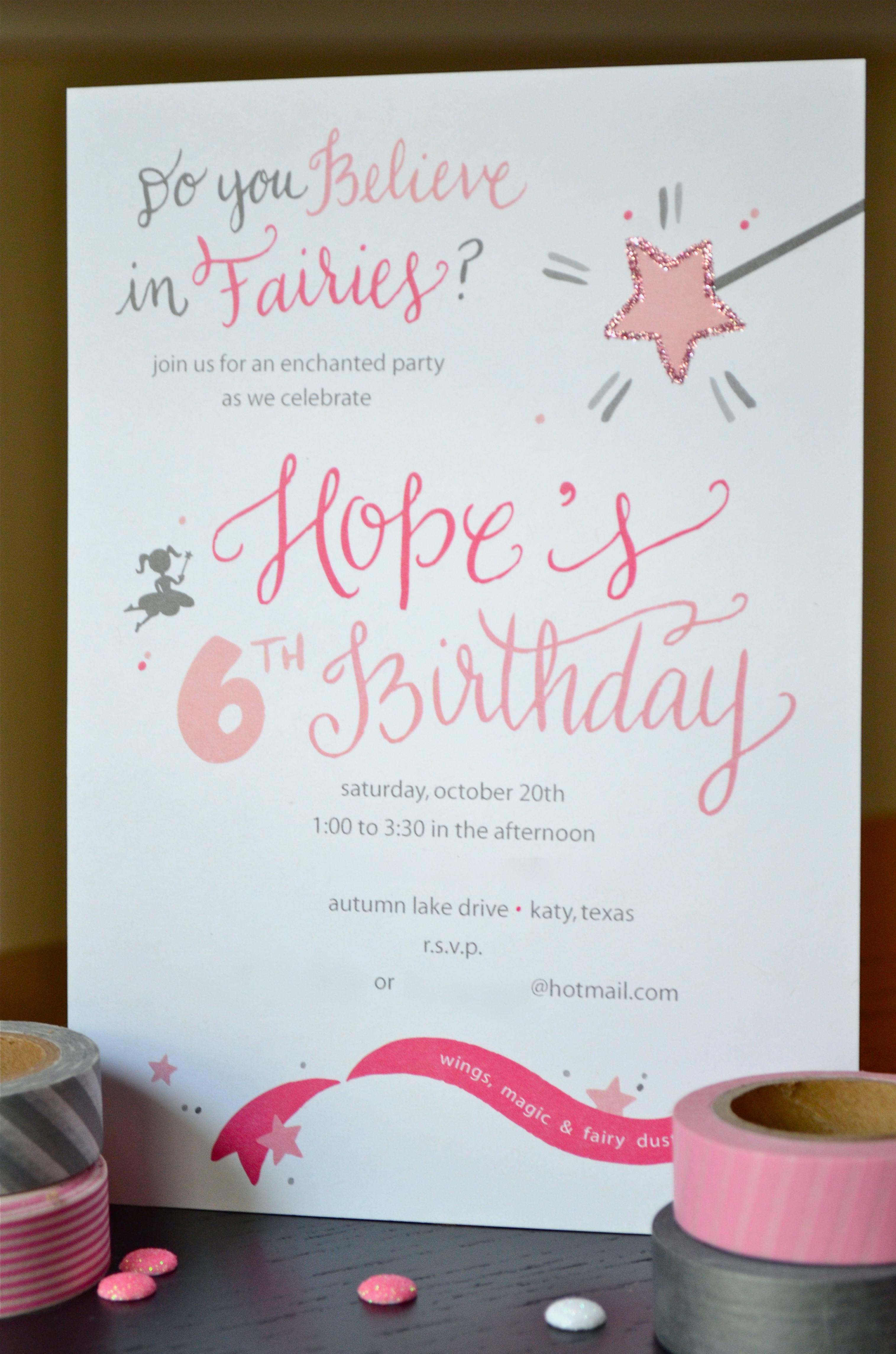 pink fairy birthday invitation