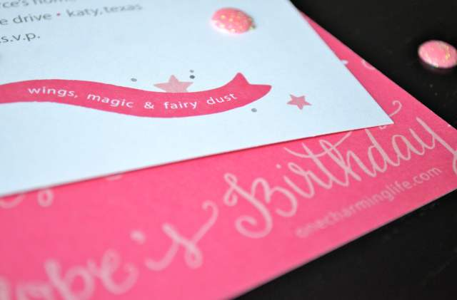 cute pink invitation for a girl's birthday party- fairy theme