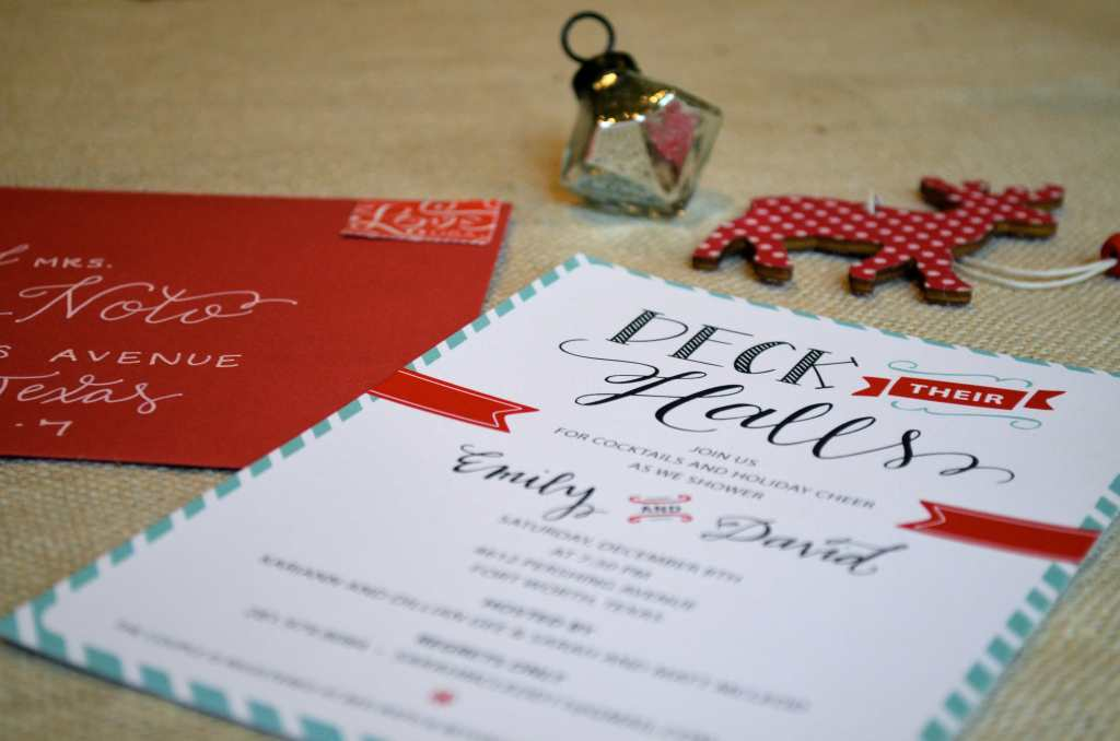 deck their halls shower invite from one charming life