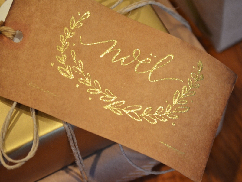DIY gift tag with gold embossed custom stamp