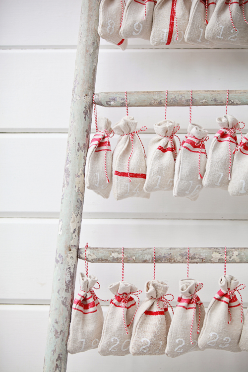 grain sack advent calendar- french farmhouse christmas