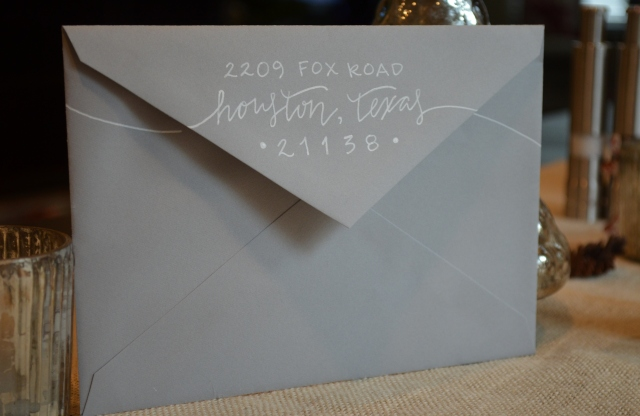 grey envelope return address with white lettering calligraphy - One Charming Life