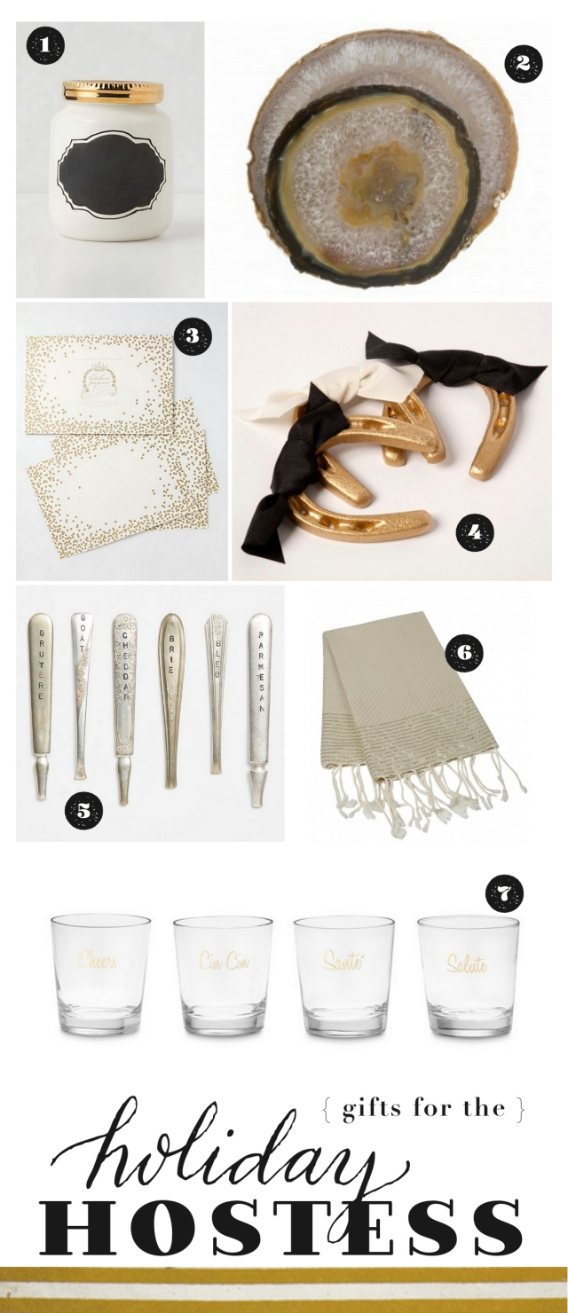 chic and affordable holiday hostess gifts in gold and black