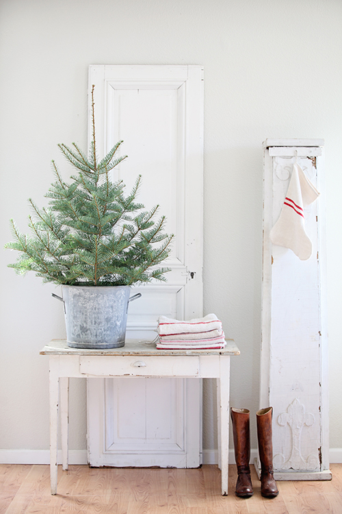 vintage french zinc wash bucket as a christmas tree stand