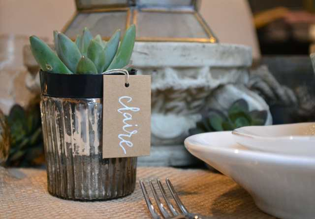 DIY mini succulent place cards with calligraphy