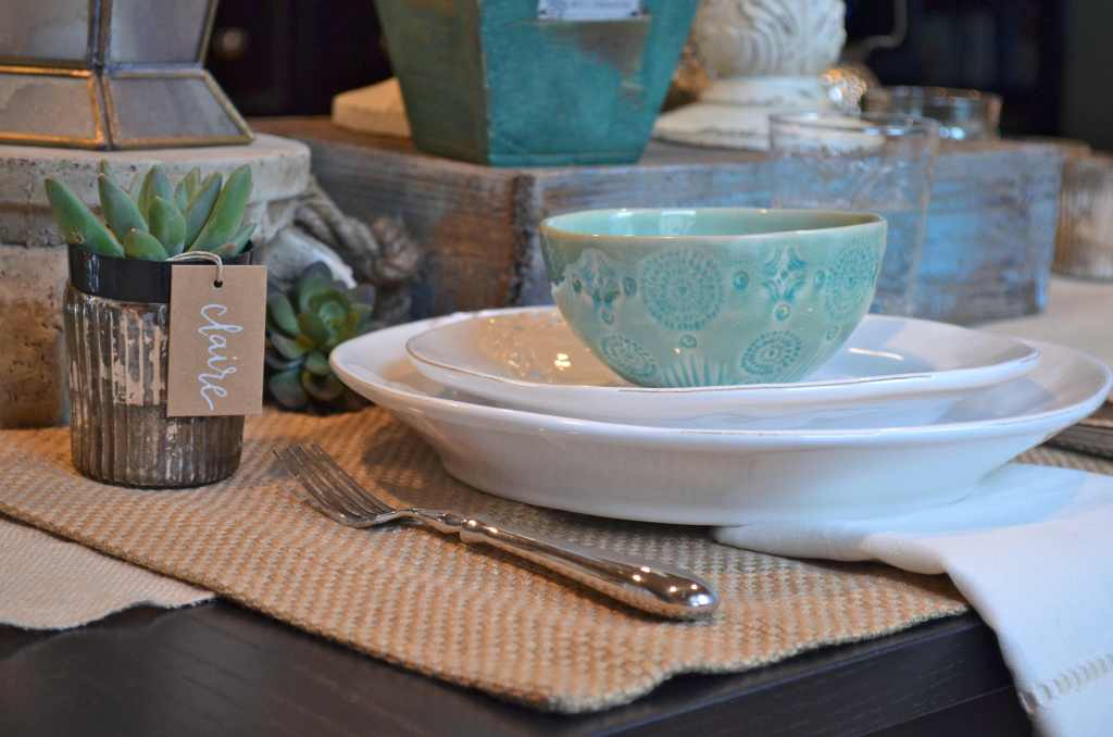 teal and neutral brunch place setting
